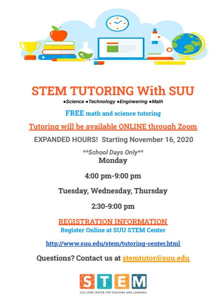 Information about STEM tutoring available Mondays through Thrusdays